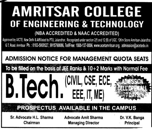BTech in CSE and ECE (Amritsar College of Engineering and Technology ACET Manawala)