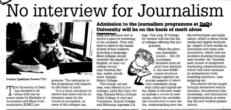No interview for Journalism (Delhi University)