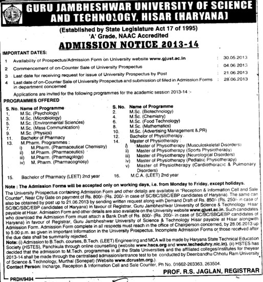 MSc in Psychology (Guru Jambheshwar University of Science and Technology (GJUST))