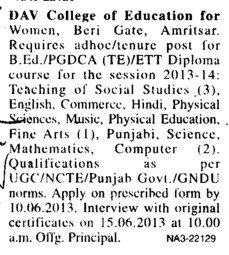 Faculty on contract basis (DAV College of Education for Women)