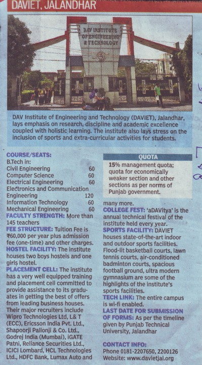 BTech in Civil Engg (DAV Institute of Engineering and Technology DAVIET)