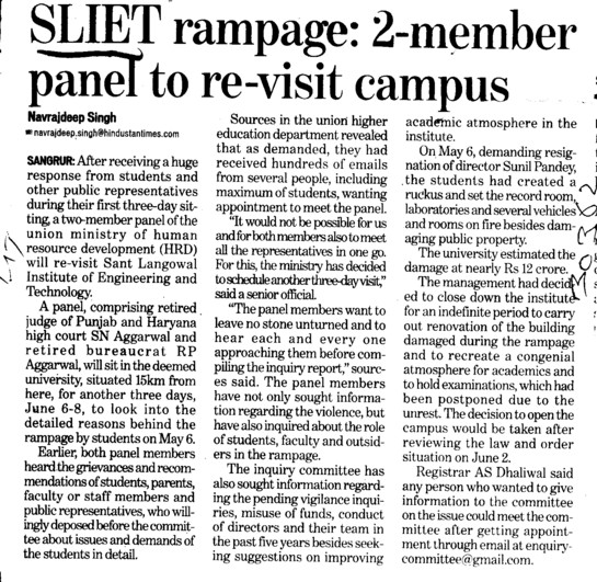 2 members panel to re visit campus (Sant Longowal Institute of Engineering and Technology SLIET)