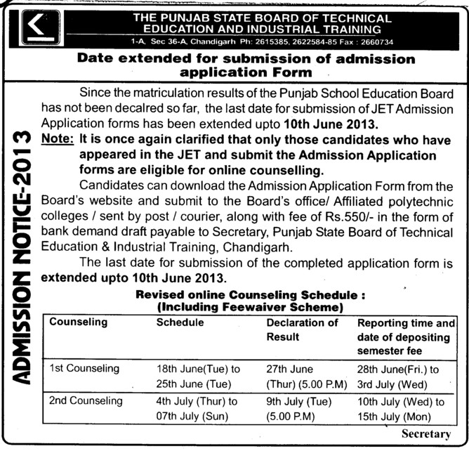 JET Admission (Punjab State Board of Technical Education (PSBTE) and Industrial Training)
