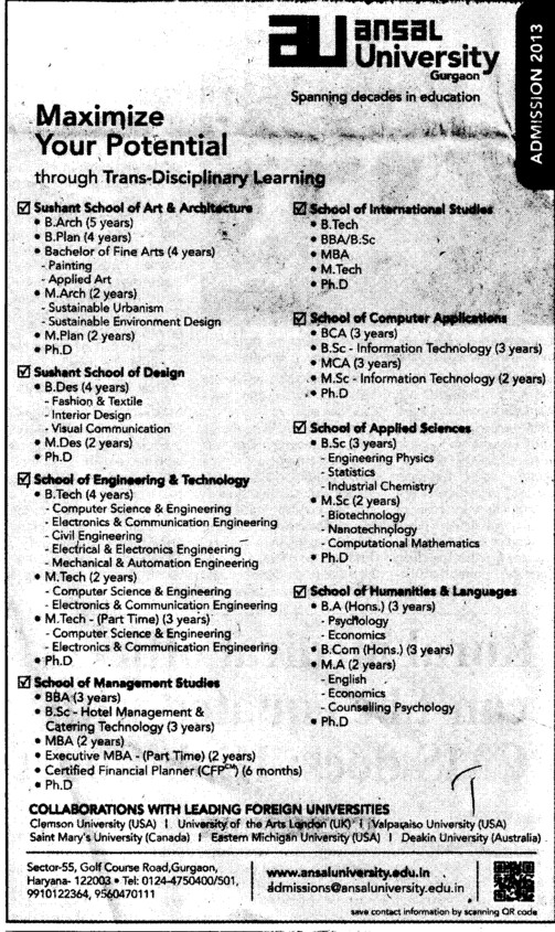 B Arch and MBA (Ansal University)