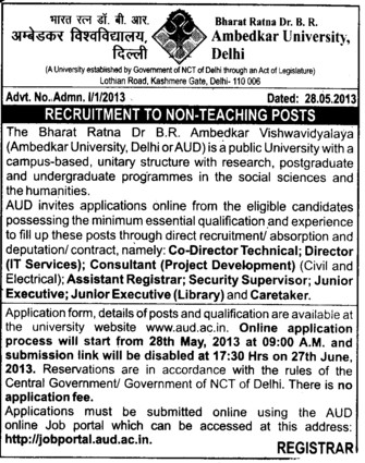 Non teaching posts (Bharat Ratna Dr BR Ambedkar University)