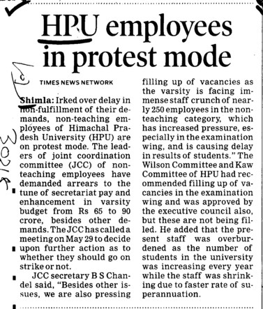 HPU Employees in protest mode (Himachal Pradesh University)