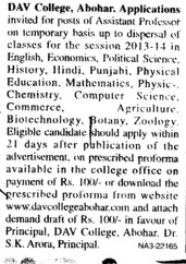 Asstt Professor on temporary basis (Hindu College)