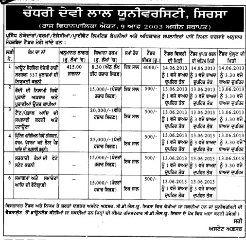 Printing of forms (Chaudhary Devi Lal University CDLU)