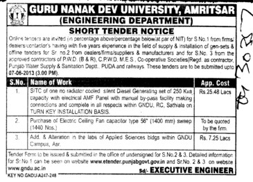 Purchase of fan capacitor (Guru Nanak Dev University (GNDU))