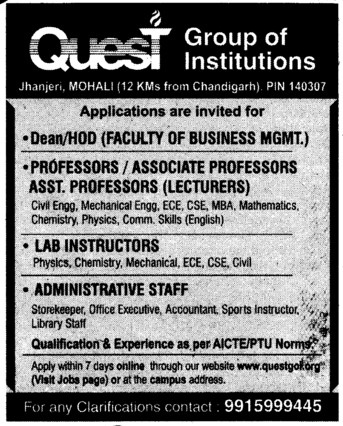 Lab Instructors and Administrative Staff (Quest Group of Institutions)