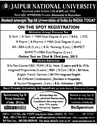 BTech, B Ed and STC (Jaipur National University)