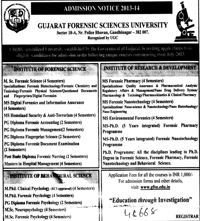 MSc in Forensic Studies (Gujarat Forensic Sciences University)