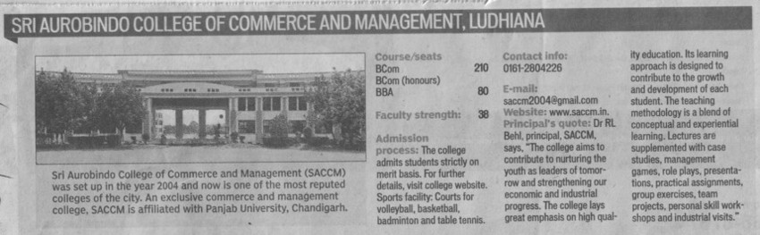 BCom, BBA and BCA (Sri Aurobindo College of Commerce and Management)