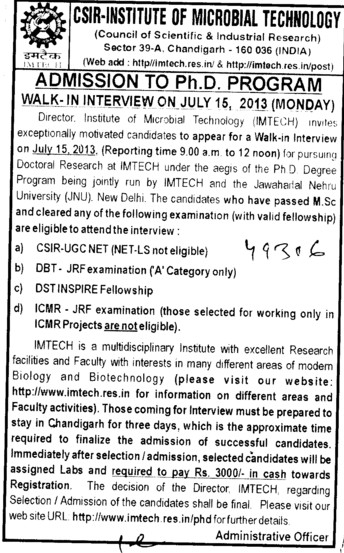 PhD Programme (Institute of Microbial Technology (IMTECH))