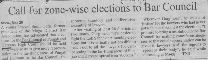 Call for zone wise elections to Bar Council (Bar Council of Punjab and Haryana)