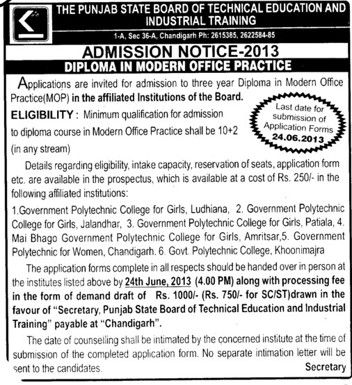 Diploma in Modern office practice (Punjab State Board of Technical Education (PSBTE) and Industrial Training)