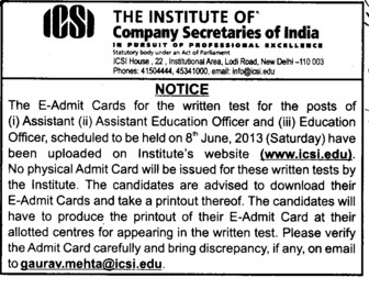 Asstt Education Officer (Institute of Company Secretaries of India)