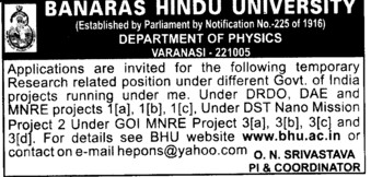 Posts under DRDO, DAE and MNRE Projects (Banaras Hindu University)