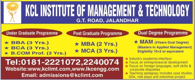 BBA, BCA and BCom (KCL Institute of Management and Technology)