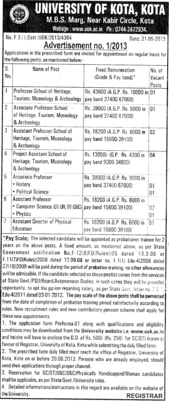 Asstt Director (University of Kota)
