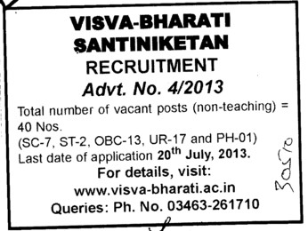 Non teaching posts (Visva Bharati University)