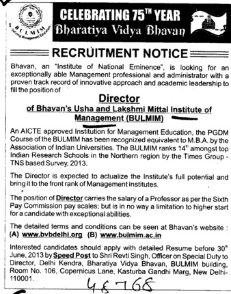 Director (Bhavan Usha And Lakshmi Mittal Institute of Management (BULMIM))