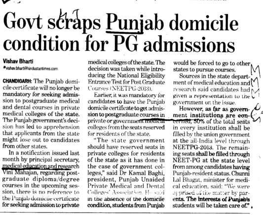 Govt scraps Punjab domicile condition for PG Admissions (Director Research and Medical Education DRME Punjab)