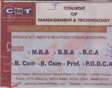 BBA, BCA and MBA (College of Management and Technology)