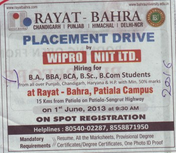 Placement Drive by Wipro (Rayat and Bahra Group)