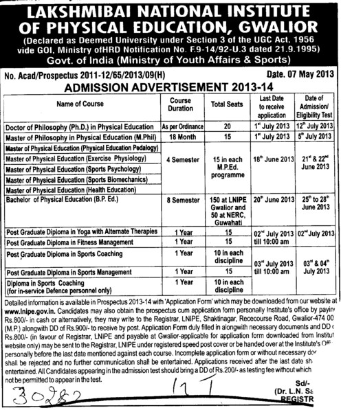 PhD in Physical Education (Lakshmibai National University of Physical Education (LNUPE))
