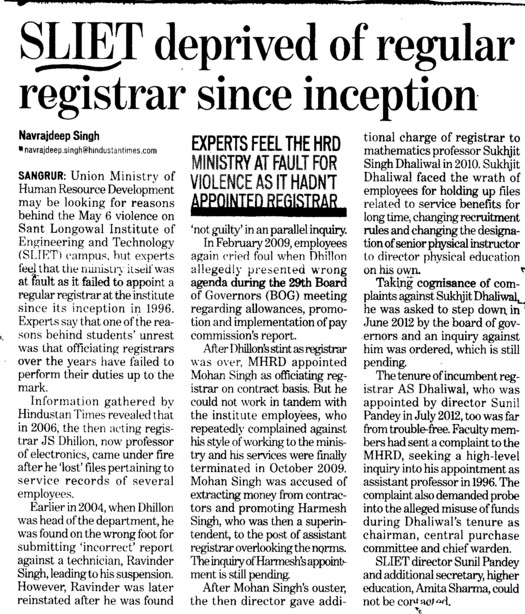 SLIET deprived of regular registrar since inception (Sant Longowal Institute of Engineering and Technology SLIET)