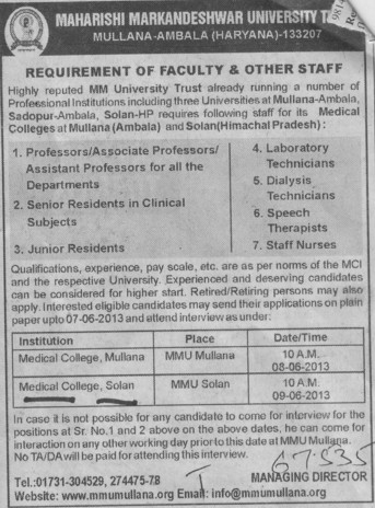 Junior Residents and Dialysis Technicians (MM Medical College Kumarhatti)