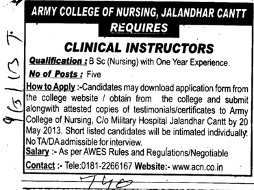 Clinical Instructor (Army College of Nursing)
