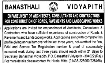 Construction of Roads (Banasthali University Banasthali Vidyapith)