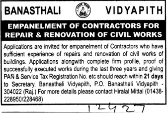 Renovation of Civil works (Banasthali University Banasthali Vidyapith)