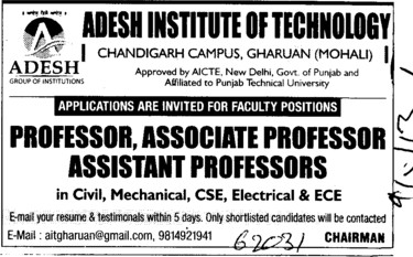 Asstt and Associate Professor (Adesh Institute of Technology)
