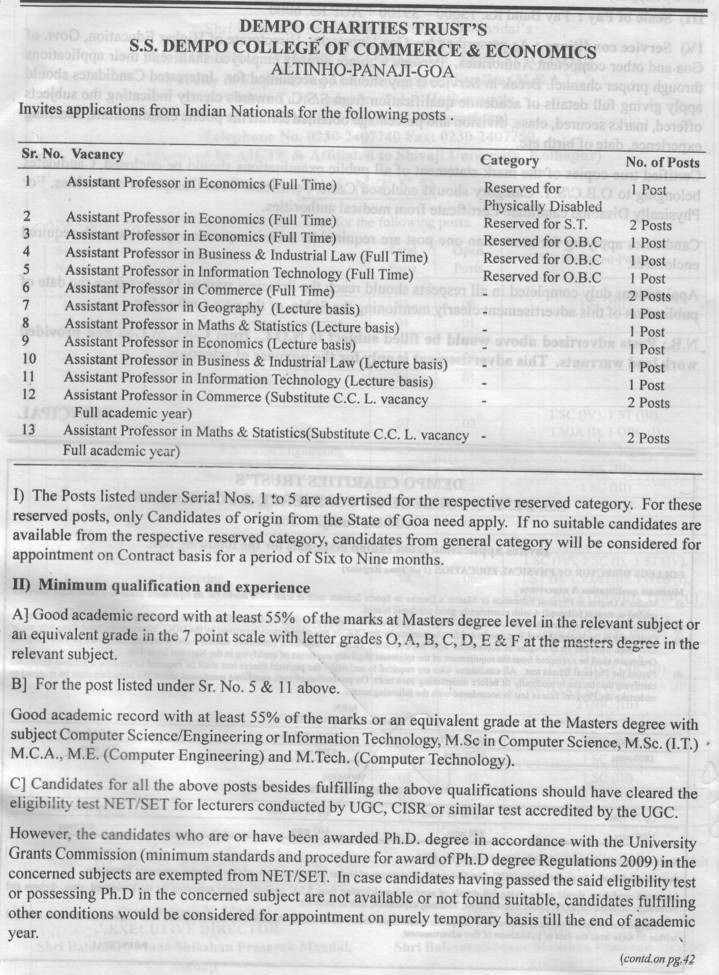 Asstt Professor in Economics (SS Dempo College of Commerce and Economics)