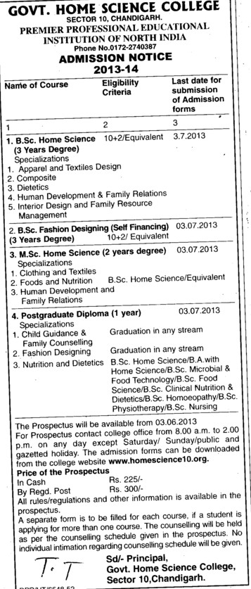 BSc in Home Science (Government Home Science College)