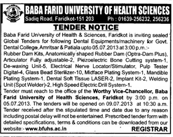 Dental Equipments (Baba Farid University of Health Sciences (BFUHS))