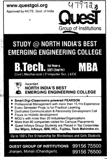 BTech and MBA (Quest Group of Institutions)