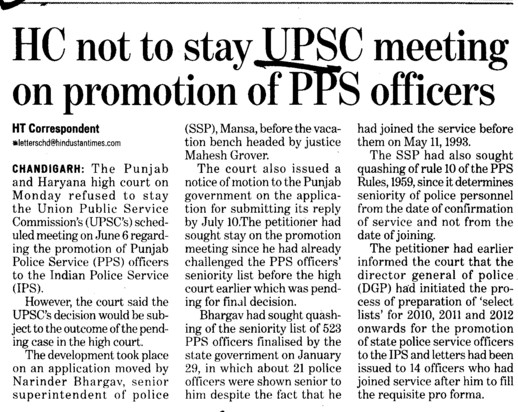HC orders on promotion of PPS Officer (Union Public Service Commission (UPSC))