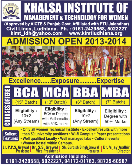 BBA, BCA and MBA (Khalsa Institute of Management and Technology for Women)