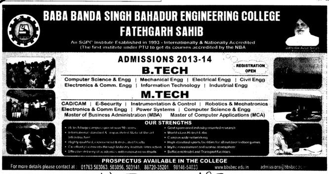 BTech and MTech (Baba Banda Singh Bahadur Engineering College (BBSBEC))