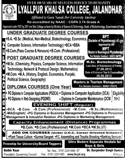 BA, BSc and BCom (Lyallpur Khalsa College of Boys)