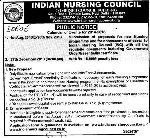 Calendar of events for 2014 2015 (Indian Nursing Council (INC))