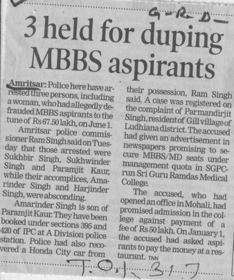 3 held for dumping MBBS aspirants (Sri Guru Ram Das Institute of Medical Sciences and Research)
