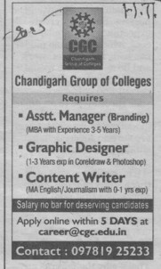 Asstt Manager (Chandigarh Group of Colleges)