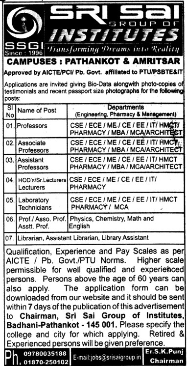 Laboratory Technician and Librarian (Sri Sai Group of Instituties (SSGI))