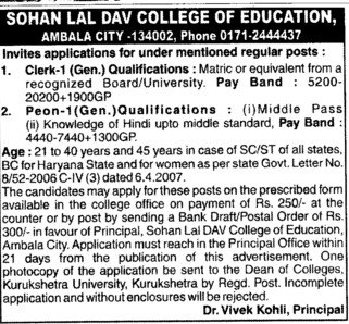 Clerk on regular basis (Sohan Lal DAV College of Education)