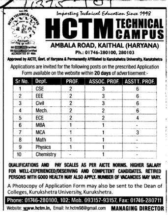 Asstt and Associate Professor (Haryana College of Technology and Management (HCTM))